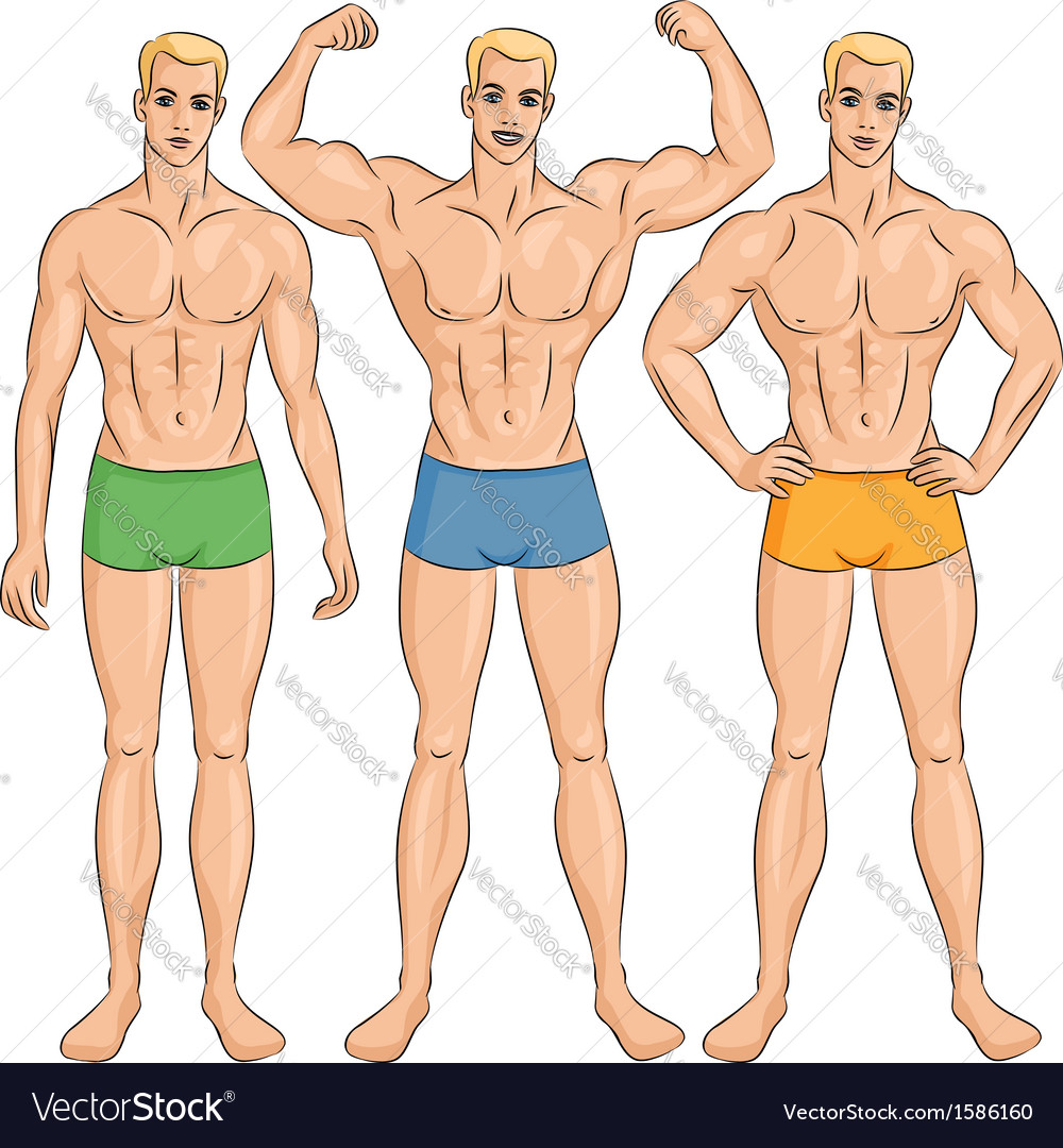 Set of young athletic guys in shorts vector | Price: 1 Credit (USD $1)