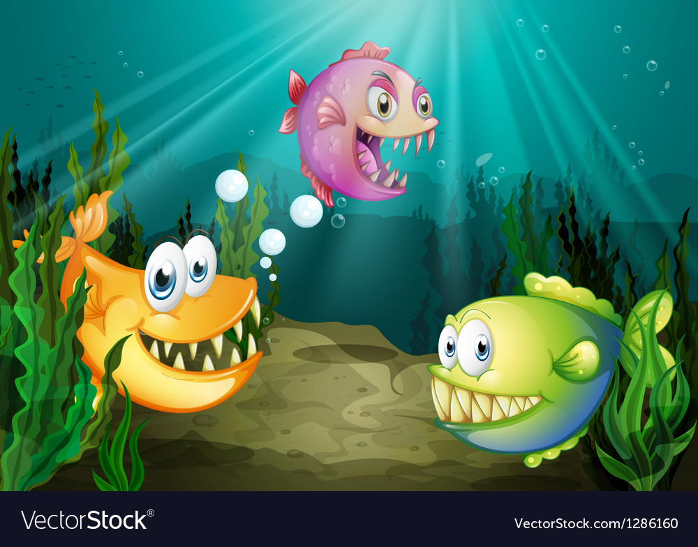 Three different kinds of fishes with big fangs vector | Price: 1 Credit (USD $1)
