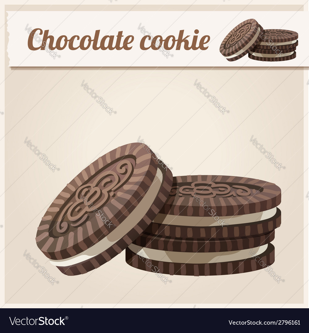 Chocolate cookie detailed icon series of food and vector | Price: 3 Credit (USD $3)