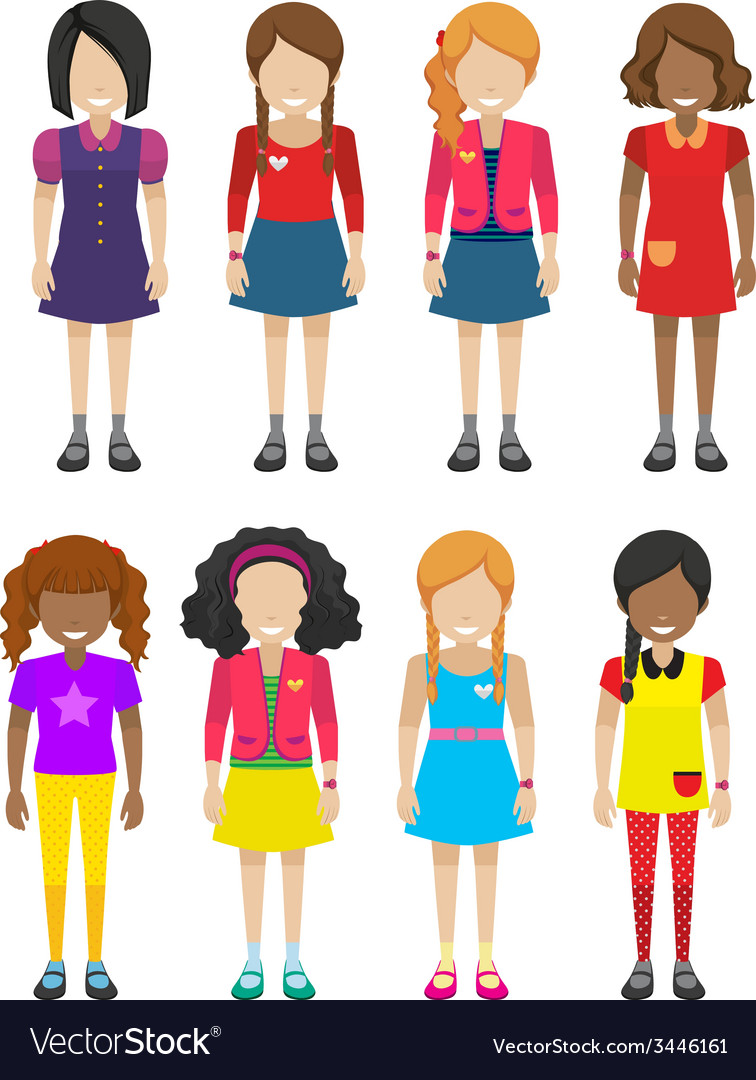 Faceless little girls vector | Price: 3 Credit (USD $3)