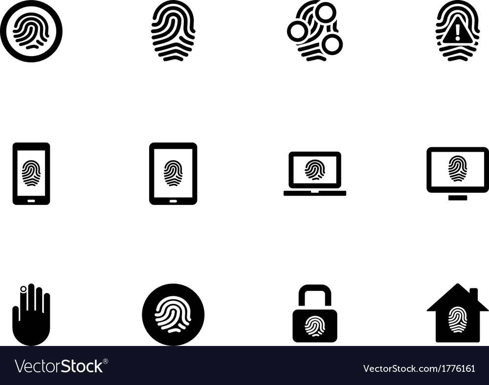 Fingerprint icons on white background vector | Price: 1 Credit (USD $1)