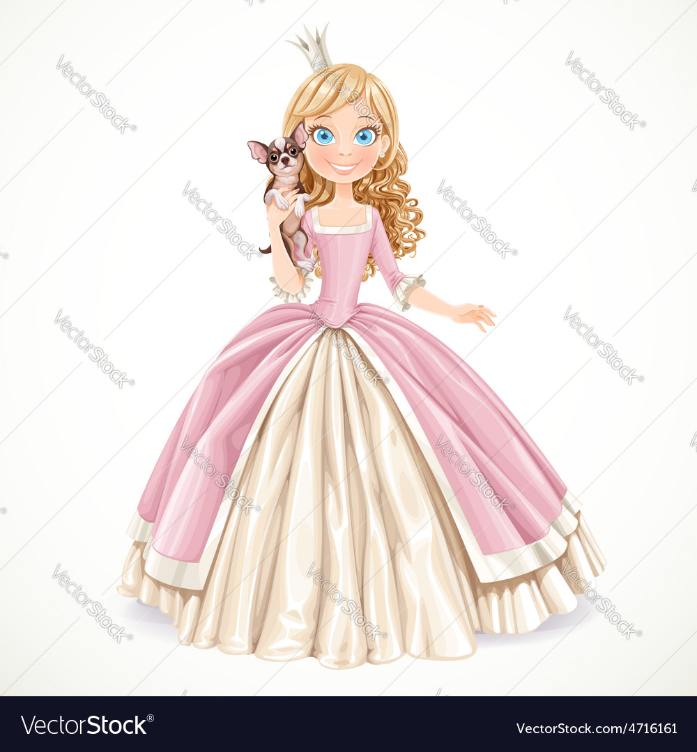 Lovely young princess with dog chihuahua in the vector | Price: 3 Credit (USD $3)