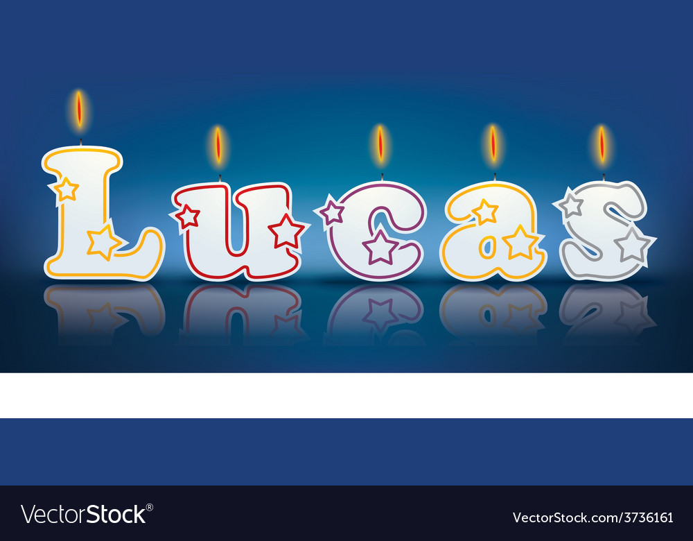 Lucas written with burning candles vector | Price: 1 Credit (USD $1)