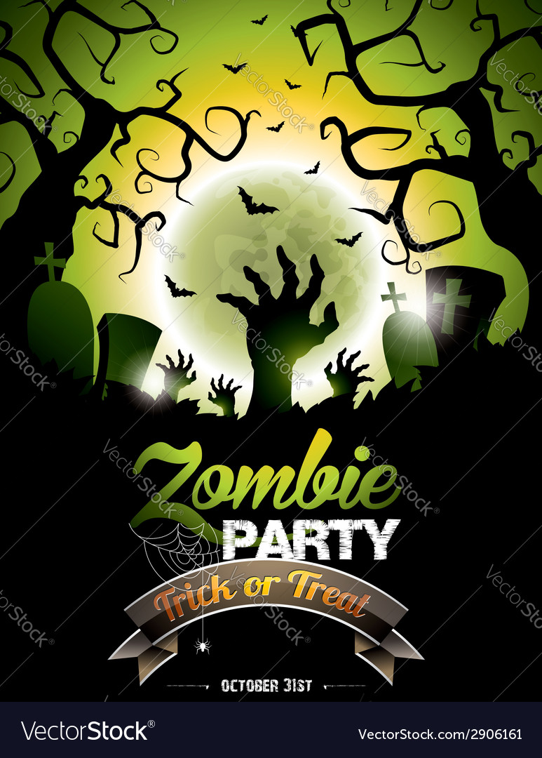 On a halloween zombie party theme vector | Price: 3 Credit (USD $3)