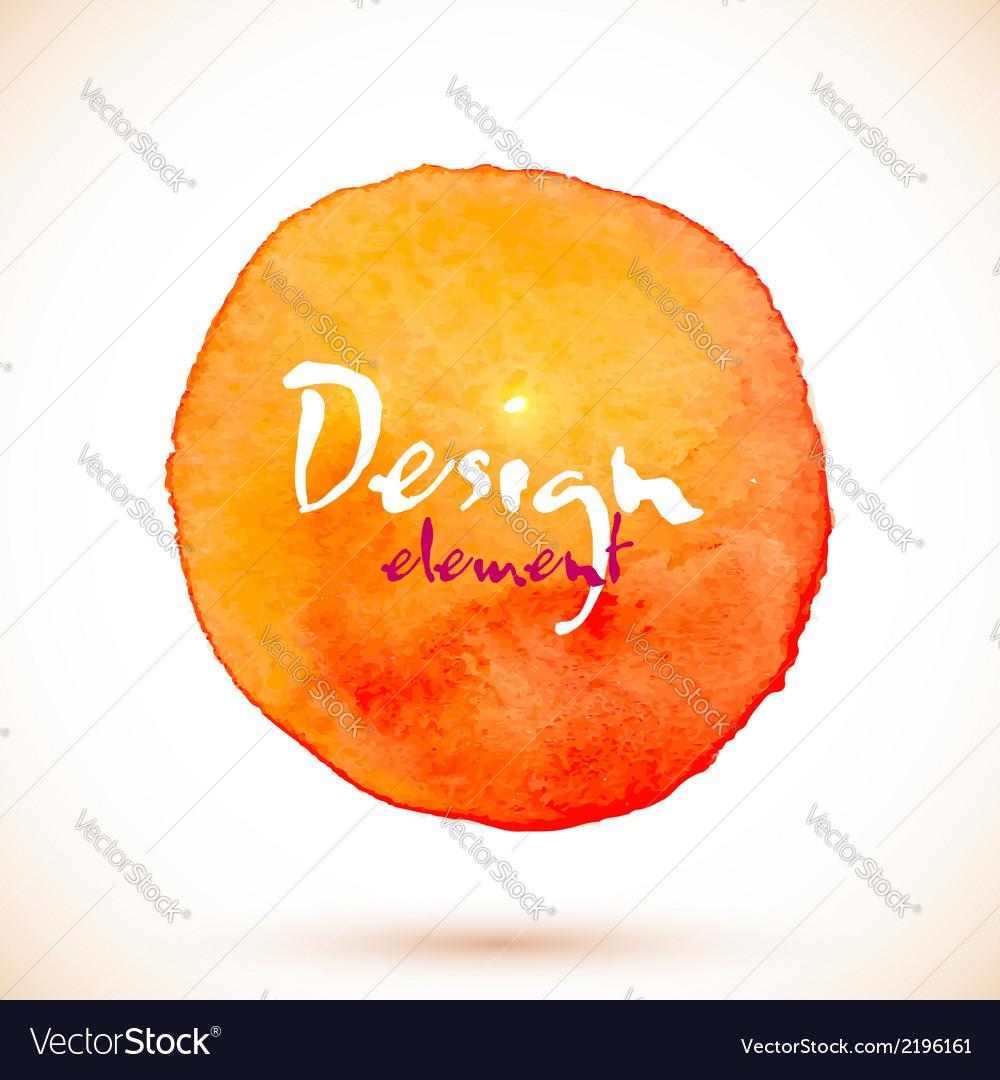 Orange watercolor circle design element vector