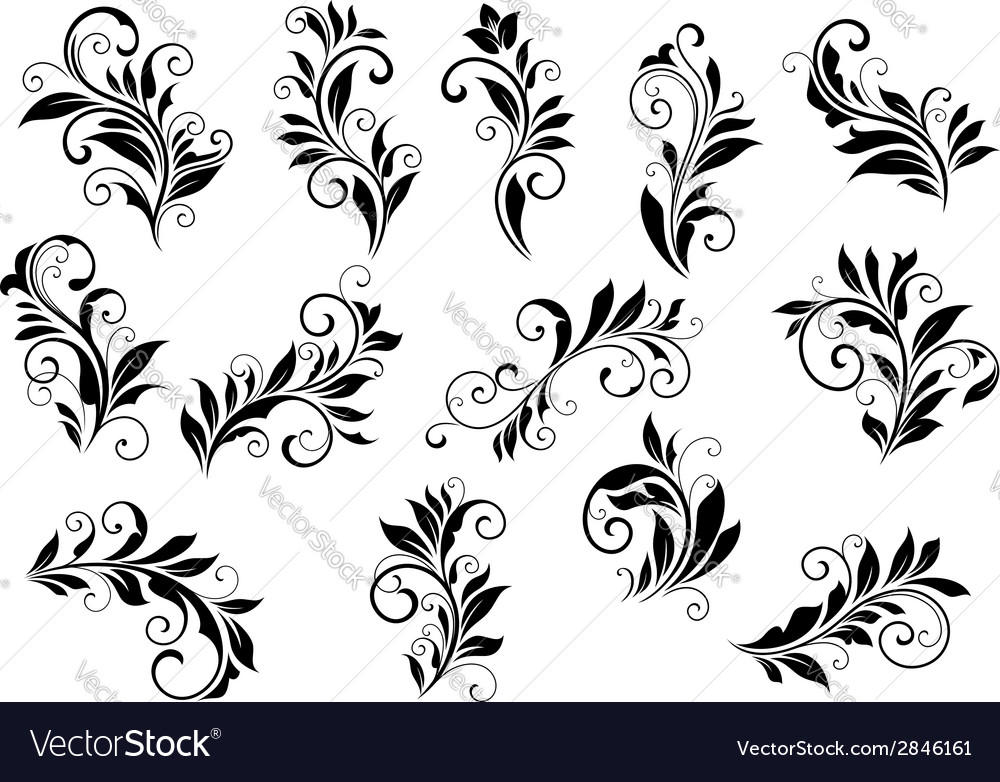 Retro floral motifs and foliate vignettes set vector | Price: 1 Credit (USD $1)