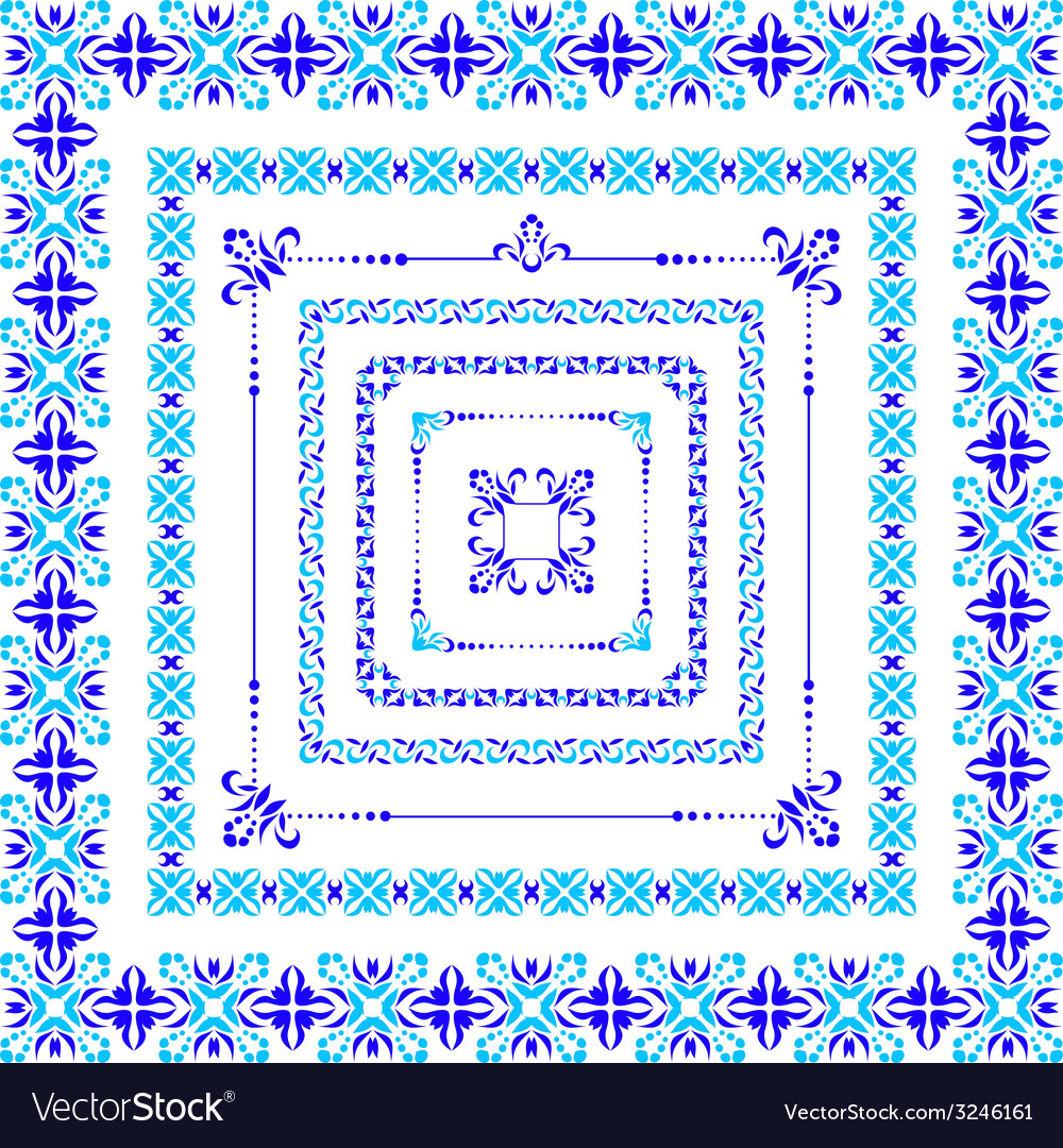 Set of isolated blue folk frame vector | Price: 1 Credit (USD $1)