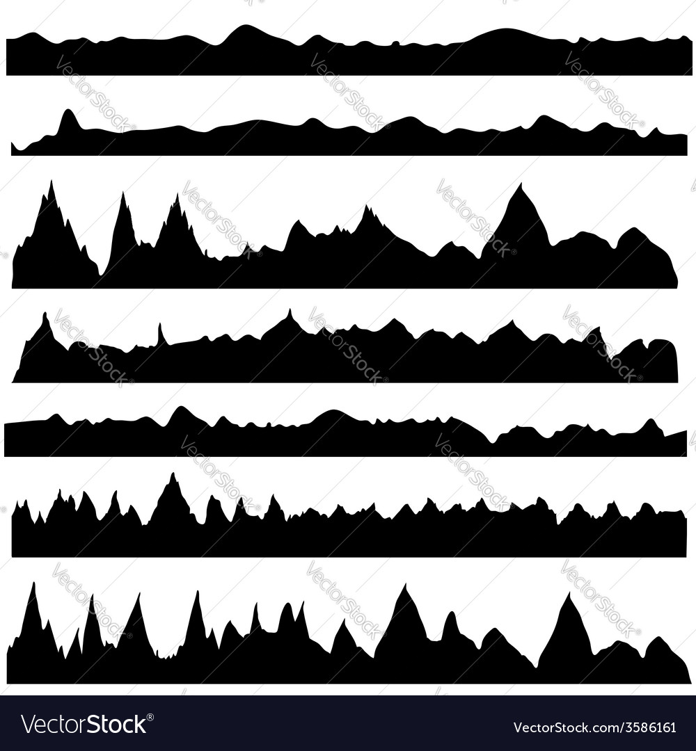 Silhouettes mountain vector | Price: 1 Credit (USD $1)