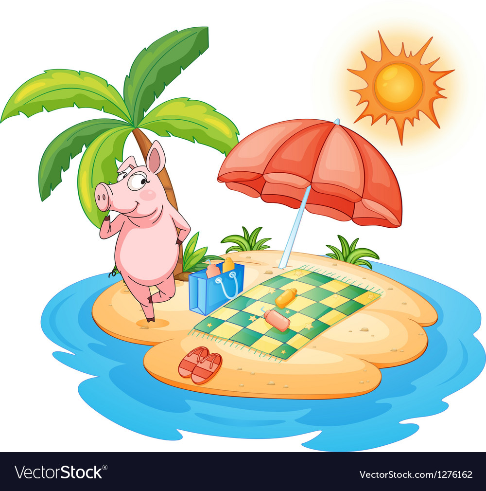 A beach with a pig enjoying summer vector | Price: 1 Credit (USD $1)