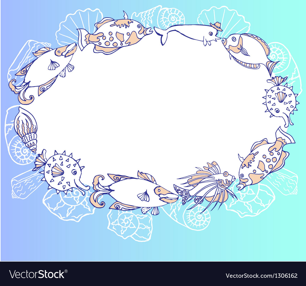 Frame with fishes and cockleshell vector | Price: 1 Credit (USD $1)