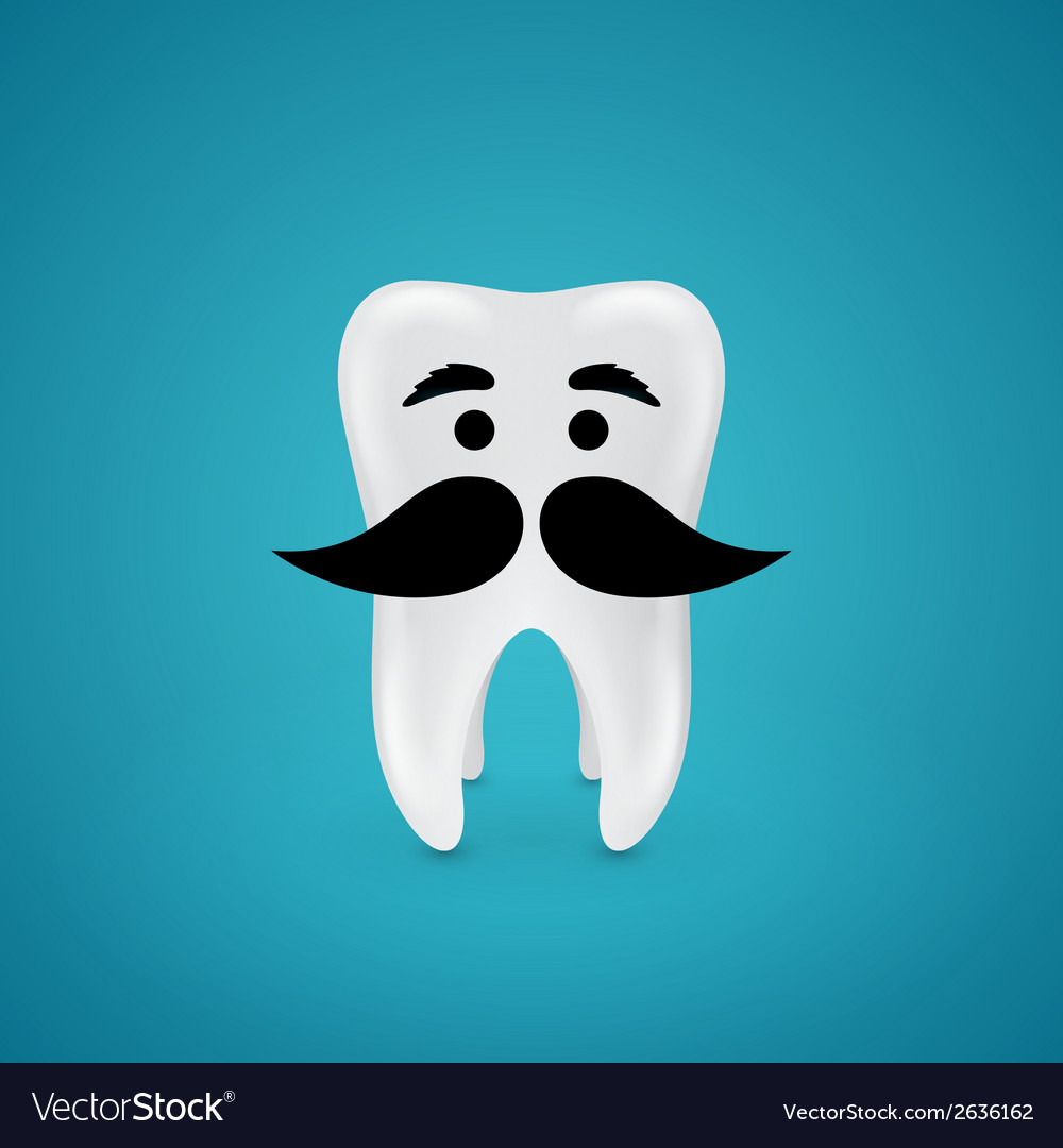 Mustachioed wisdom tooth vector | Price: 1 Credit (USD $1)