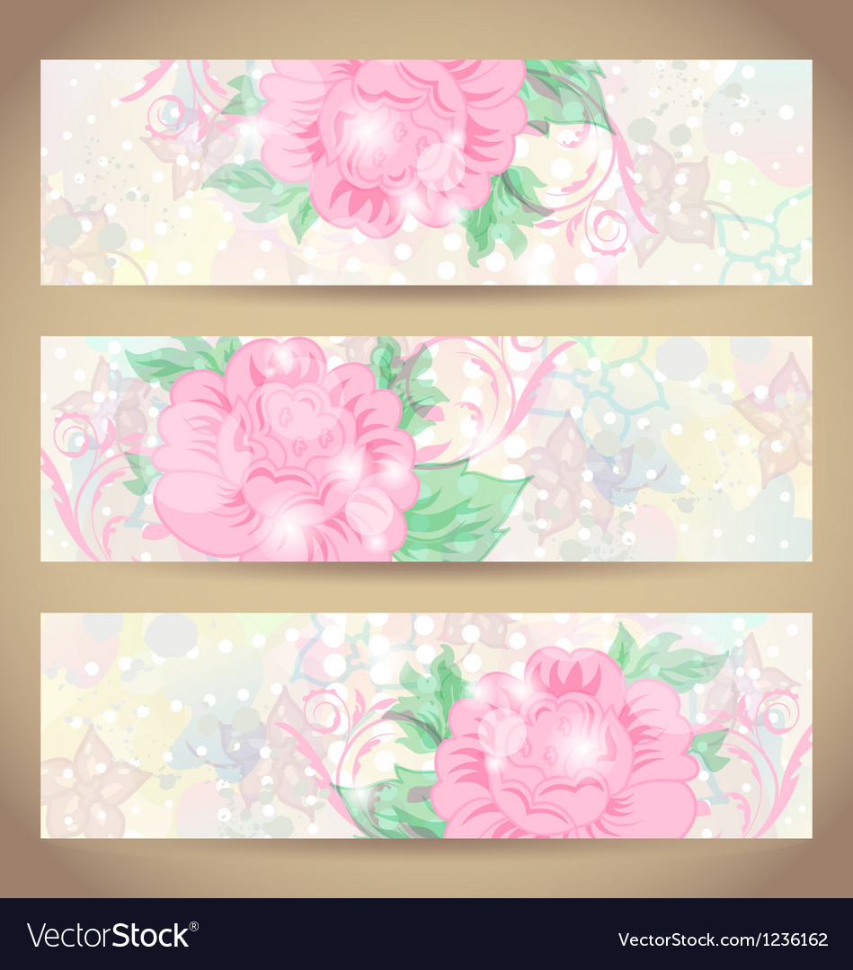 Set romantic beautiful cards with flower vector | Price: 1 Credit (USD $1)