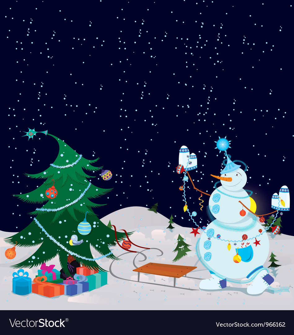 Snowman is decorating the christmas tree banner vector | Price: 3 Credit (USD $3)