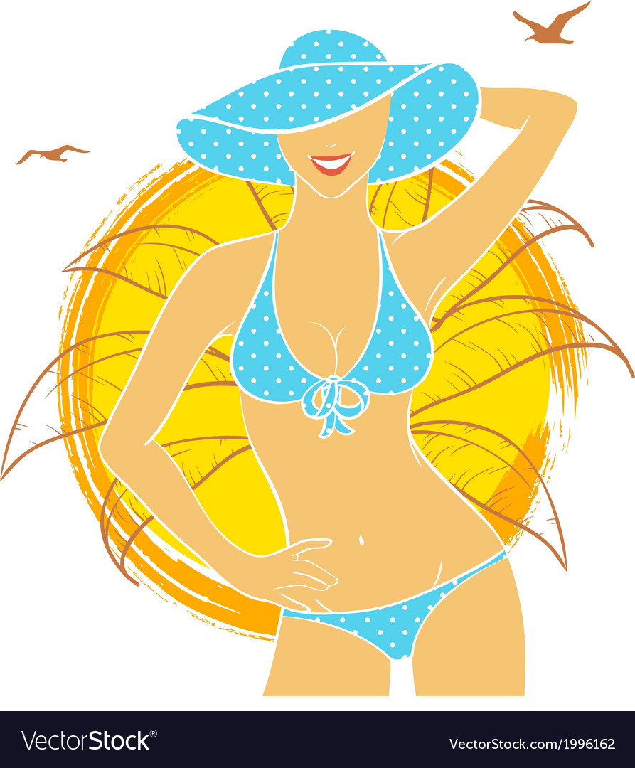 Summer woman vector | Price: 1 Credit (USD $1)