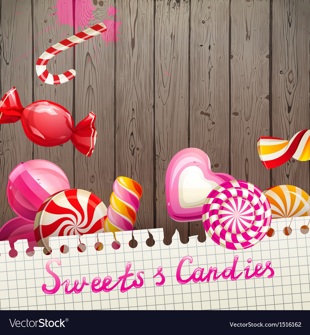 Sweets and candies background vector | Price: 3 Credit (USD $3)
