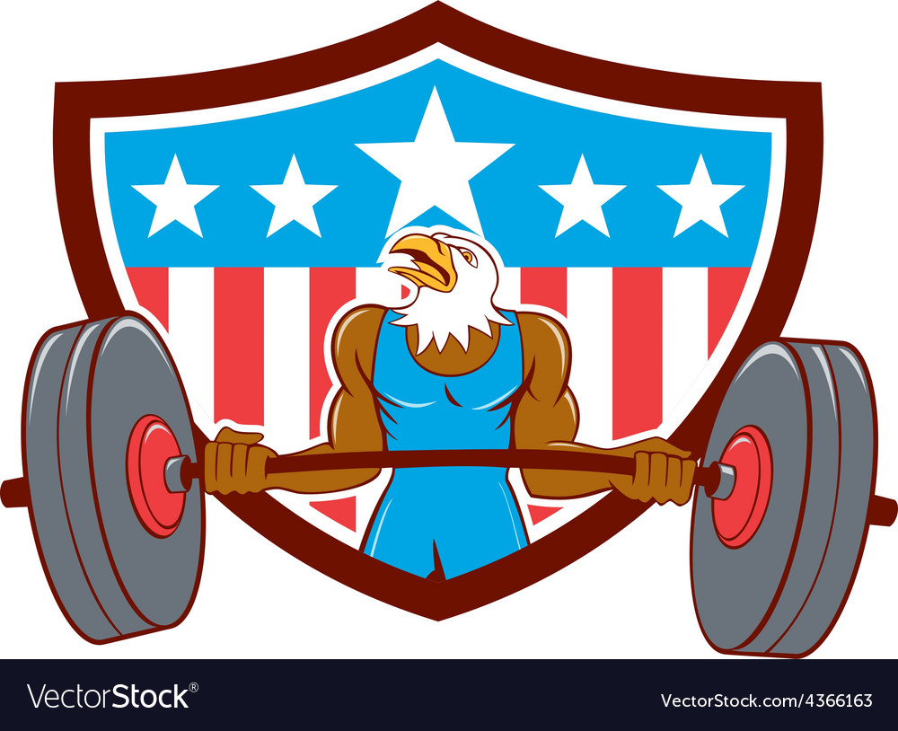 Bald eagle weightlifter barbell usa flag vector | Price: 1 Credit (USD $1)