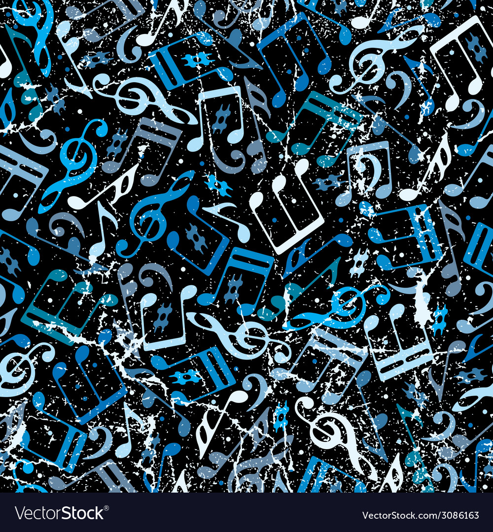 Blue musical notes seamless background with grunge vector | Price: 1 Credit (USD $1)