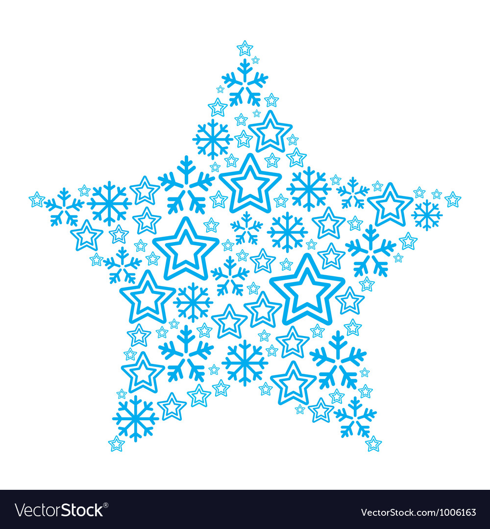 Christmas star made of star and snowflakes icons vector | Price: 1 Credit (USD $1)
