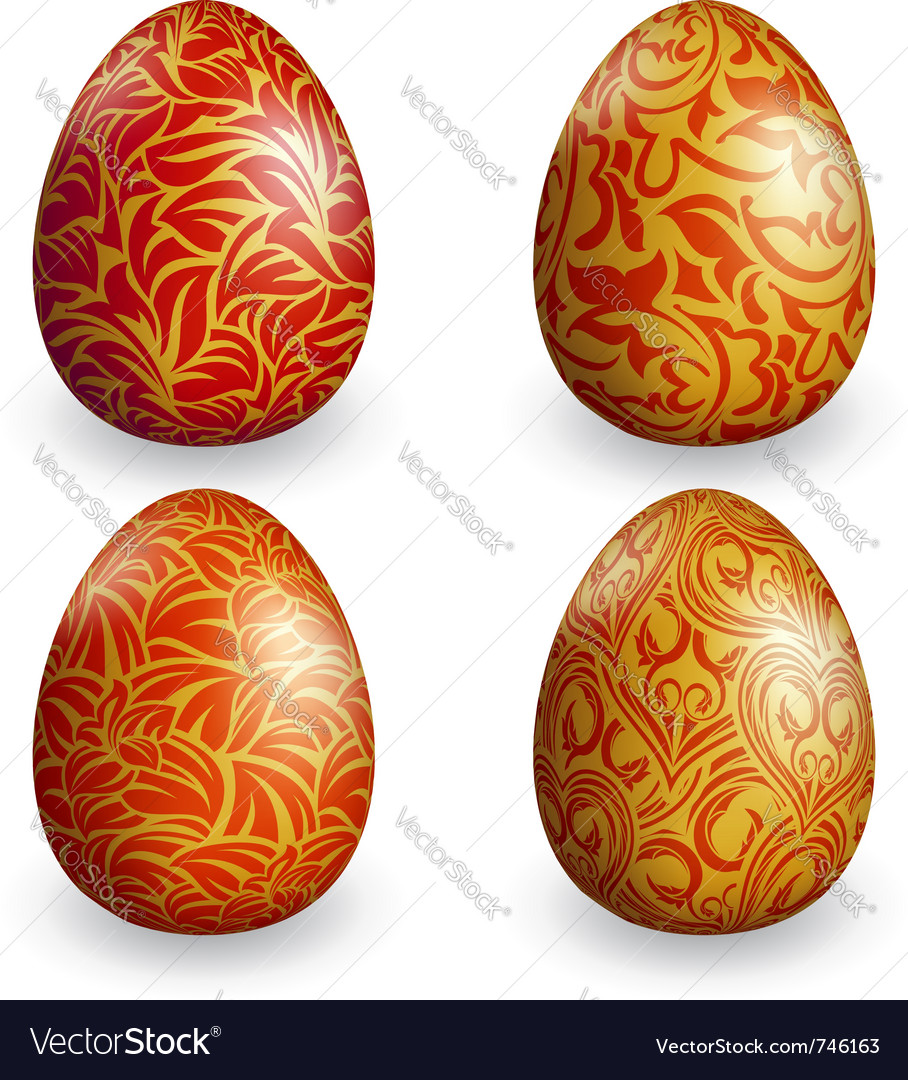 Collection golden easter egg with different patter vector | Price: 1 Credit (USD $1)