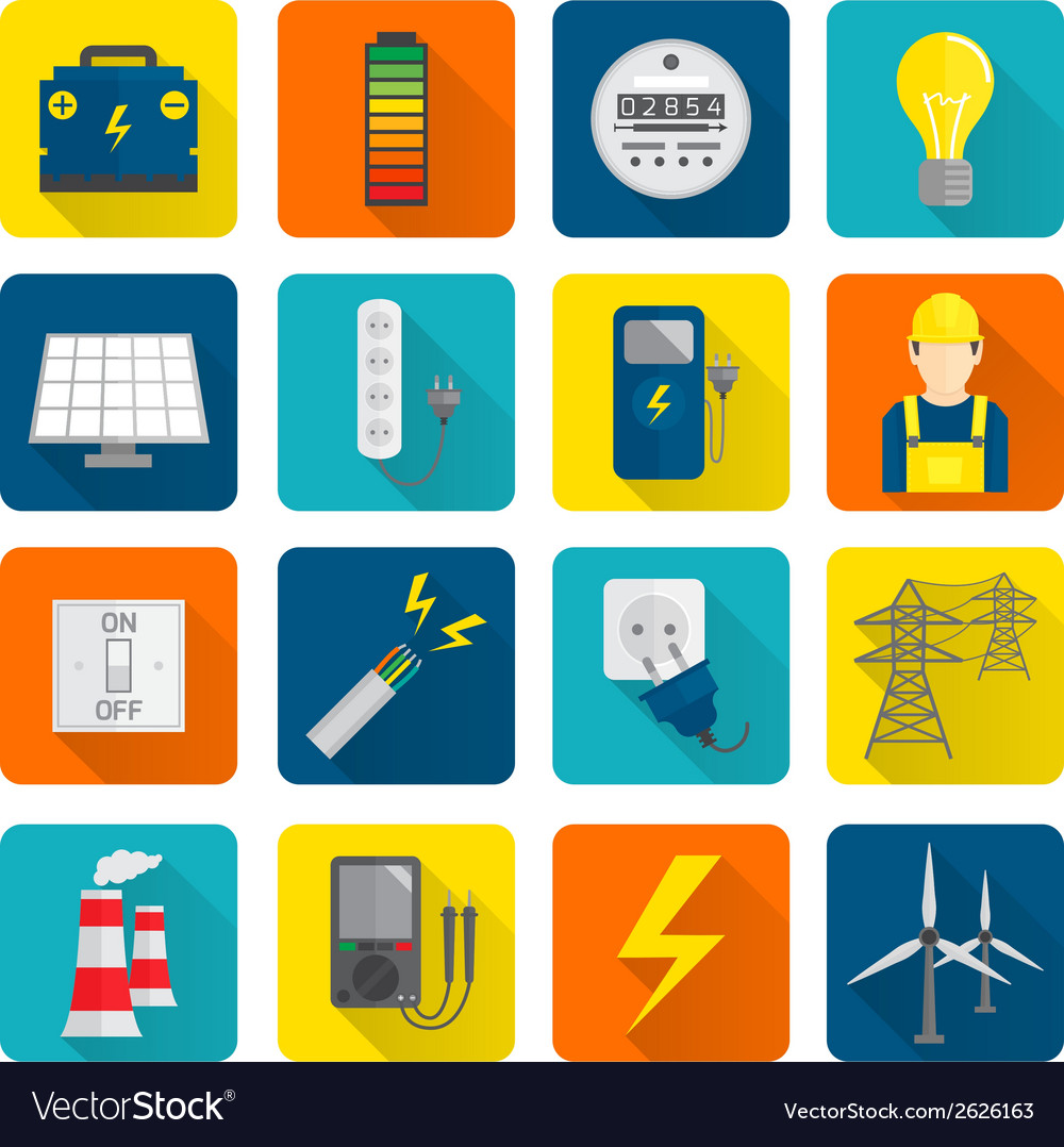 Electricity energy icons set vector | Price: 3 Credit (USD $3)
