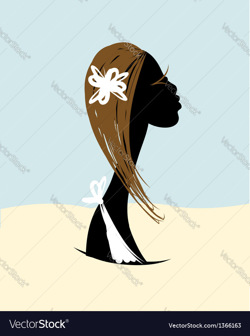 Female head silhouette for your design vector | Price: 1 Credit (USD $1)