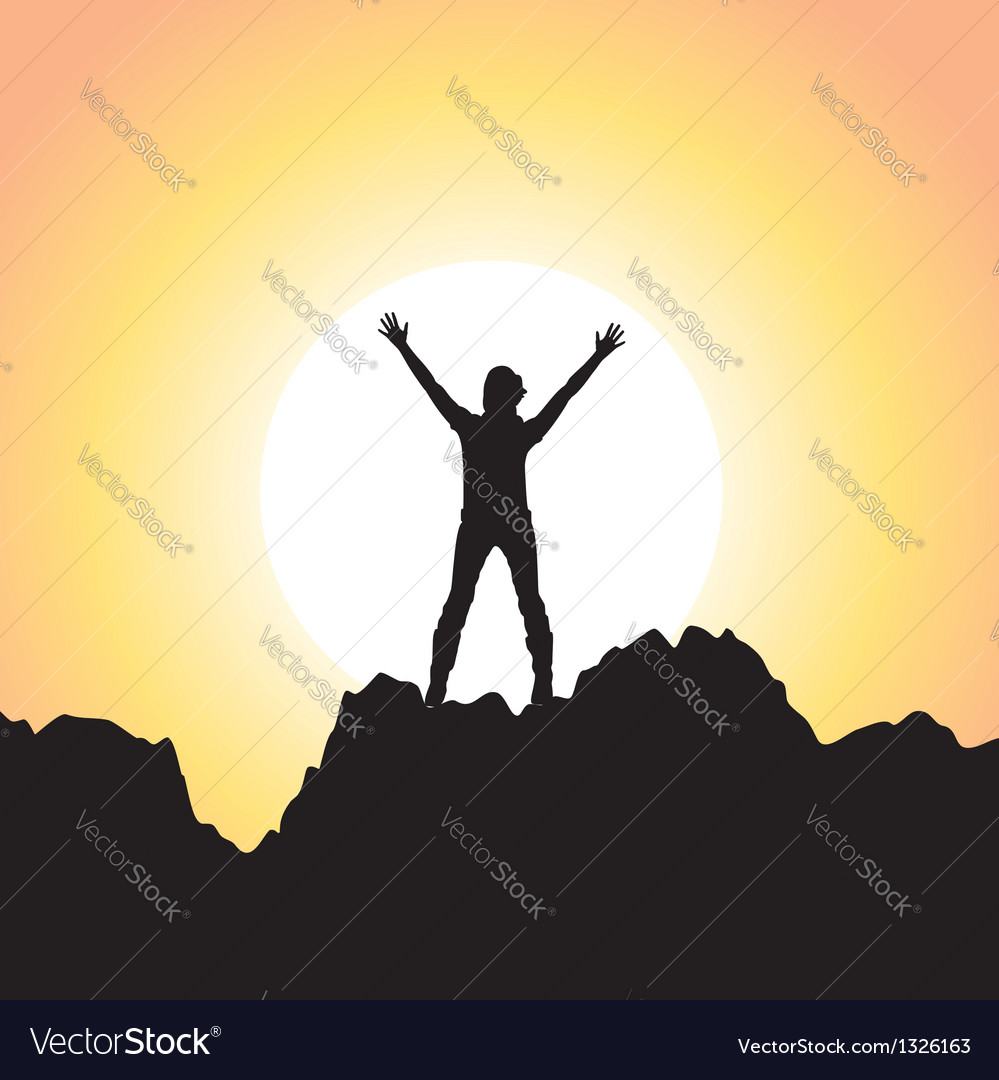Girl with raised hands vector | Price: 1 Credit (USD $1)