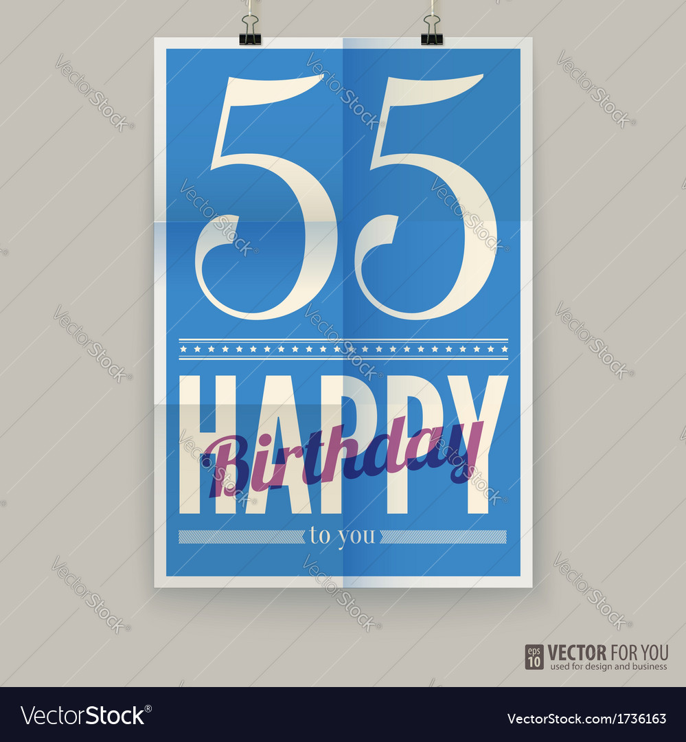 Happy birthday poster card fifty-five years old vector | Price: 1 Credit (USD $1)