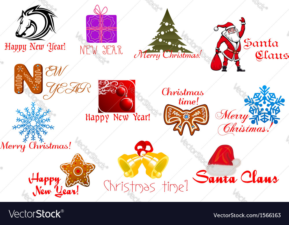 Headlines and icons for christmas holiday vector | Price: 1 Credit (USD $1)