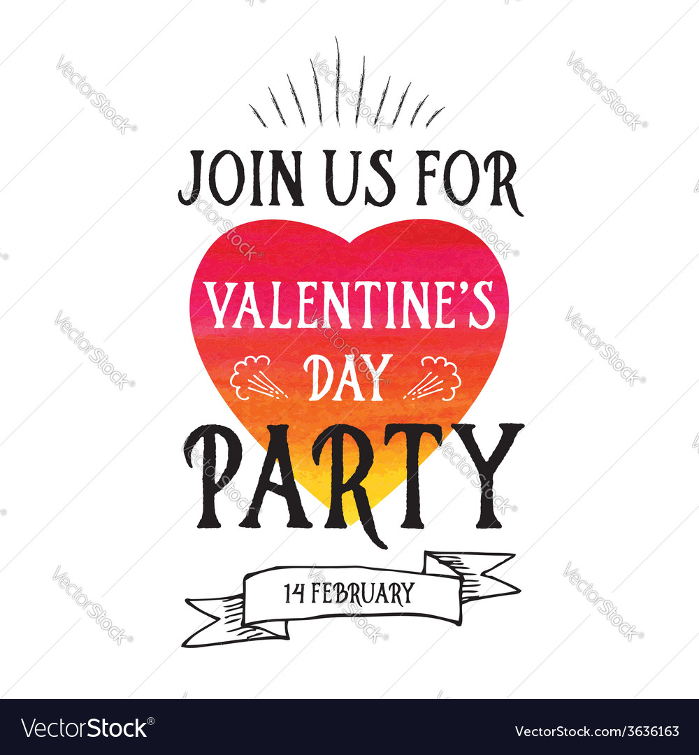 Invitation valentines day typography love poster vector | Price: 1 Credit (USD $1)