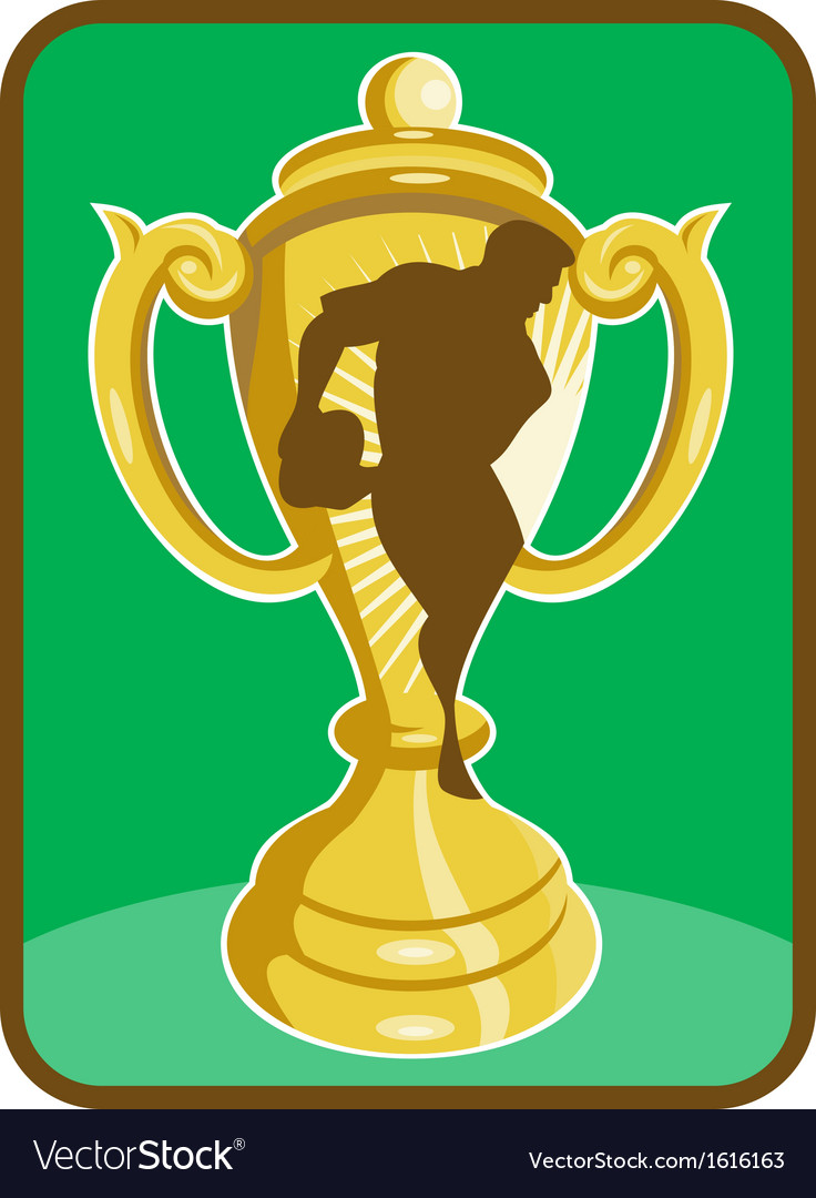 Rugby championship cup player silhouette vector | Price: 1 Credit (USD $1)