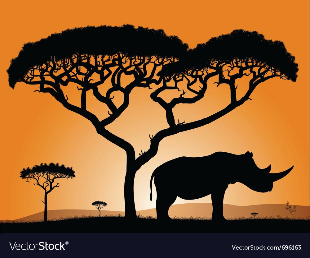 Savannah rhino vector | Price: 1 Credit (USD $1)