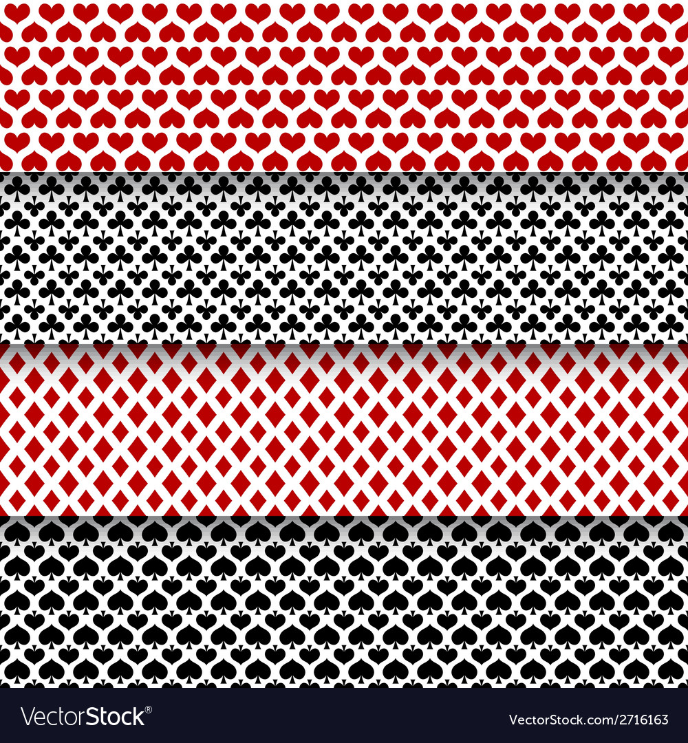 Set of seamless patterns with playing cards suits vector | Price: 1 Credit (USD $1)