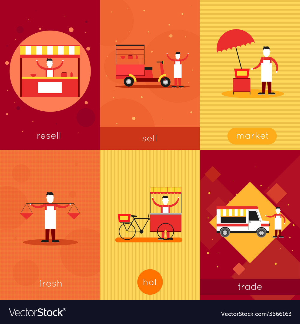 Street food mini poster set vector | Price: 1 Credit (USD $1)