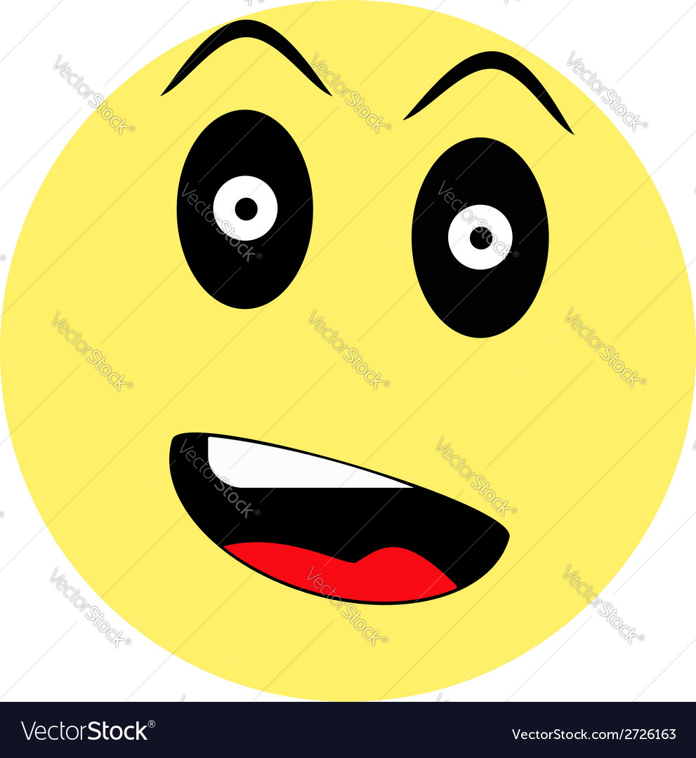 Surprised smiley on white background vector | Price: 1 Credit (USD $1)