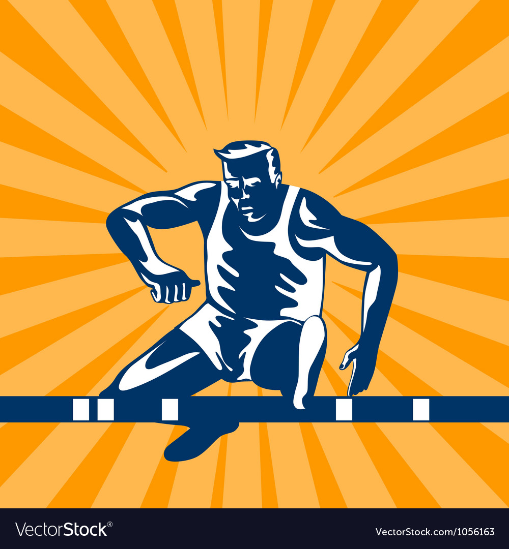 Track and field athlete jumping hurdles vector | Price: 1 Credit (USD $1)