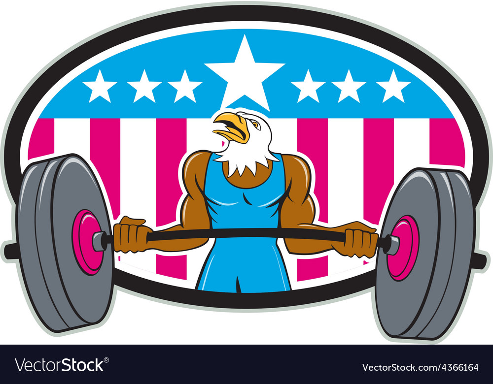 Bald eagle weightlifter barbell usa flag oval vector | Price: 1 Credit (USD $1)