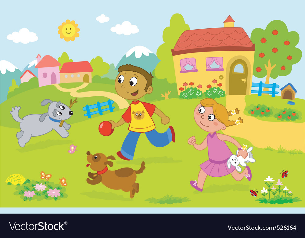 Boy and girl playing with dogs vector | Price: 3 Credit (USD $3)