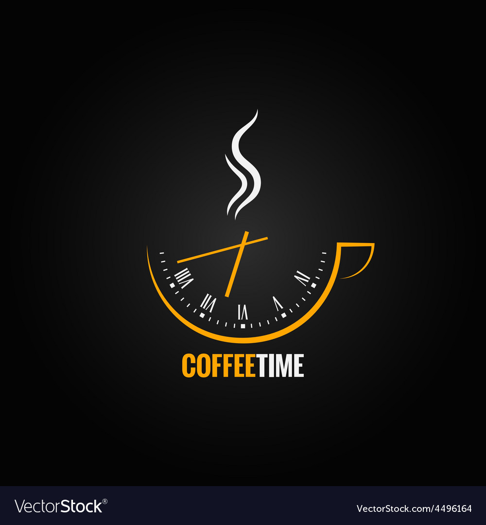 Coffee cup clock time concept background vector | Price: 1 Credit (USD $1)