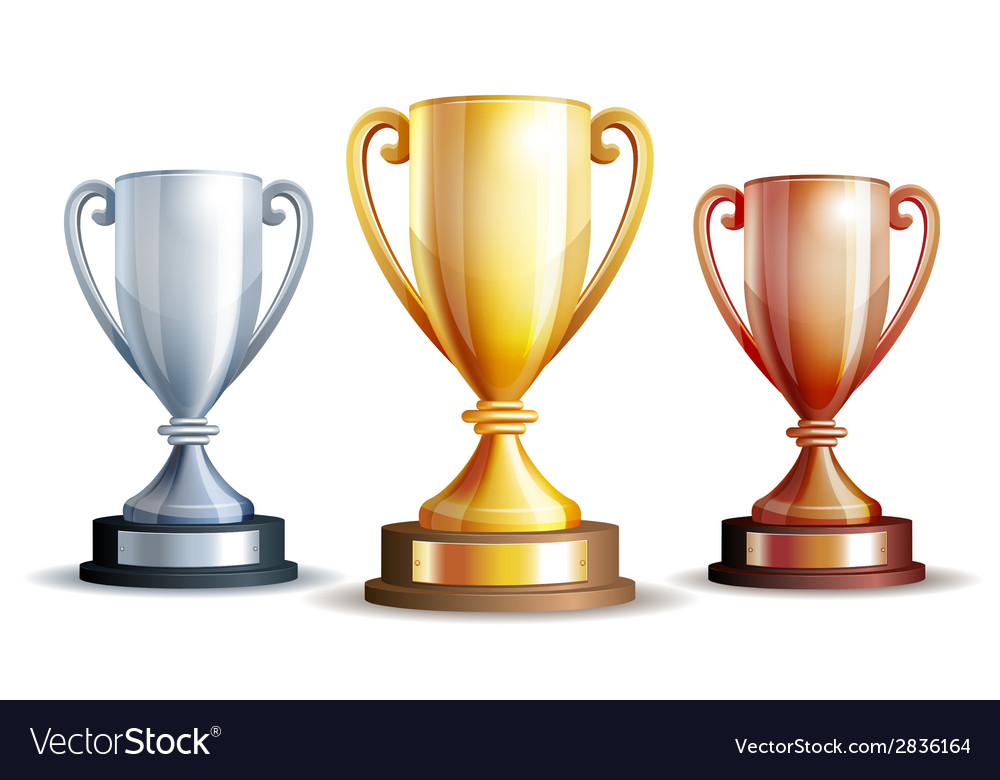 Gold silver and bronze winners cup vector | Price: 1 Credit (USD $1)
