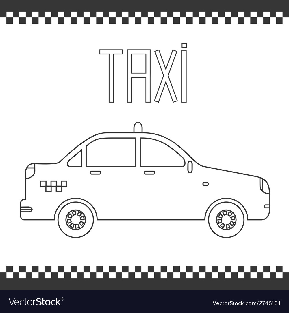 Graphic yellow linear taxi car vector | Price: 1 Credit (USD $1)