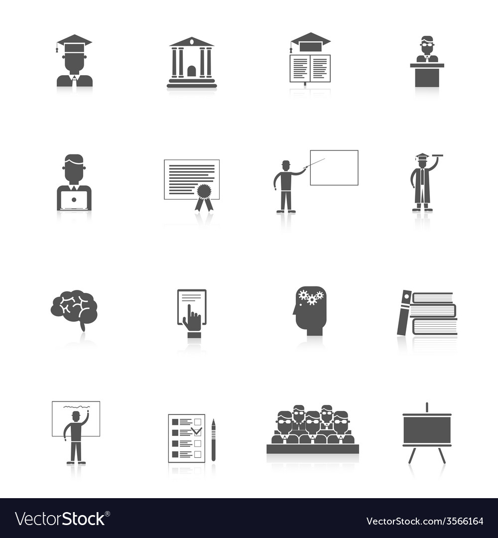 Higher education icon set vector | Price: 1 Credit (USD $1)
