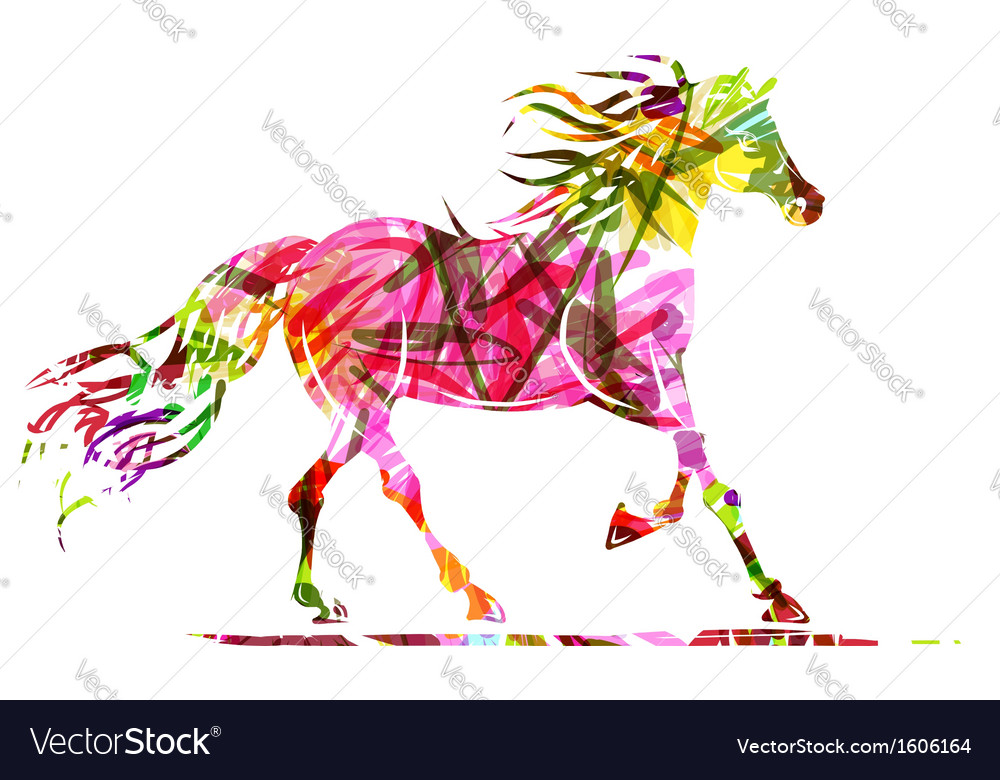 Horse sketch with floral ornament for your design vector | Price: 1 Credit (USD $1)