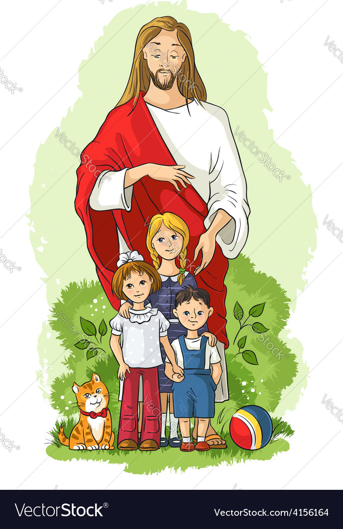 Jesus with children vector | Price: 3 Credit (USD $3)