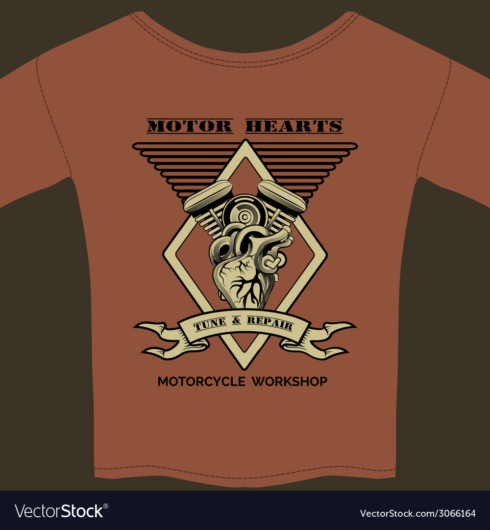 Motor hearts motorcycle workshop vector | Price: 1 Credit (USD $1)