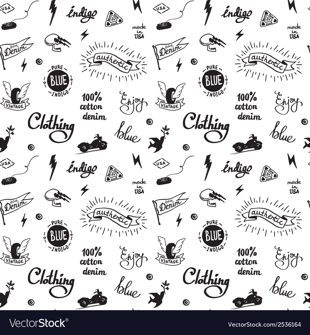 Old school denim biker pattern vector | Price: 1 Credit (USD $1)