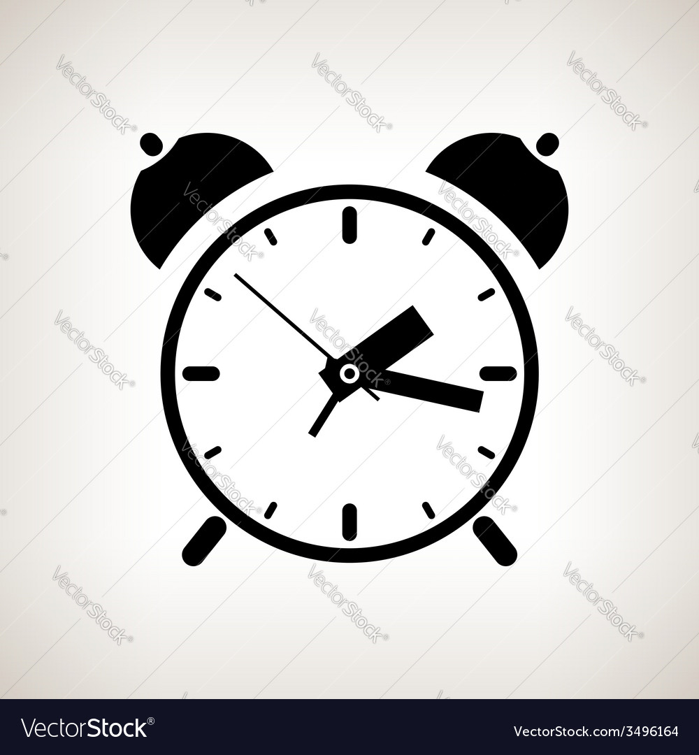 Silhouette alarm clock on a light background vector | Price: 1 Credit (USD $1)