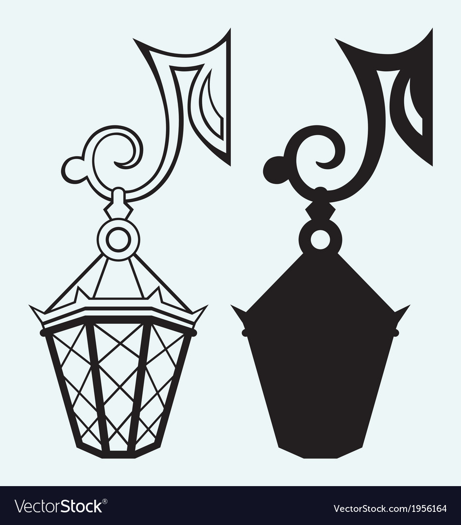 Silhouette lamp of wrought metal vector   Price: 1 Credit (USD $1)