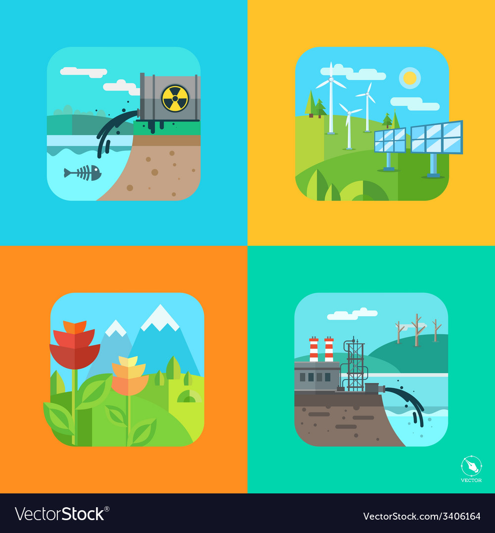 Urban and village landscape ecology environment vector | Price: 1 Credit (USD $1)