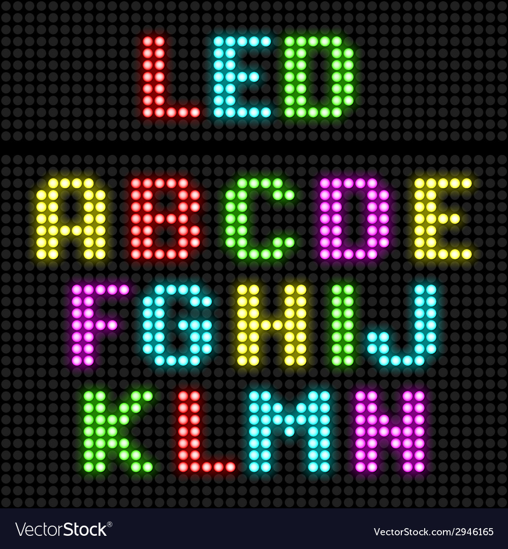 Led display alphabet vector | Price: 1 Credit (USD $1)