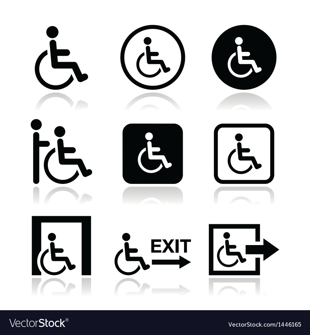 Man on wheelchair disabled emergency exit icon vector | Price: 1 Credit (USD $1)